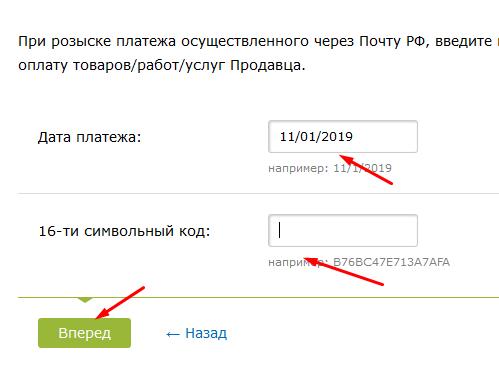 Ввод даты пополнения и контрольного кода с чека