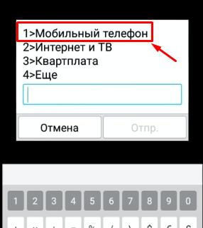 Выбор меню Мобильный телефон